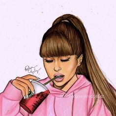 @arianagrande with her berry refresher  pls tag her! Im really like this drawing I was wondering what you guys want me to draw? And I wanna say sorry for the winners of my last contest! Im gonna finish your drawings very soon i love you