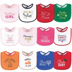 Hudson Baby Cotton Terry Drooler Bibs with Fiber Filling, Cute Girl Holiday Sayings - Cute Girl Holiday Sayings / One Size