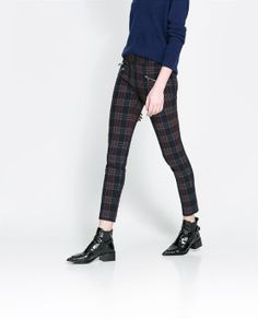 CHECKERED SKINNY TROUSERS WITH ZIP from Zara