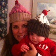 Ciara & Gigi wearing our Cupcake Hats! Thanks Linda!