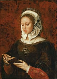 """Young Woman in Orison Reading a Book of Hours by Ambrosius Benson (circa 1495–1550) """""""