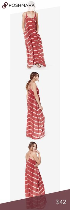 Tie Dye Pocket Maxi Dress Casual chic tie dye pocket maxi dress. A must have classic with some style.  100% Rayon Color - Cranberry/Ivory Love Stitch Dresses Maxi