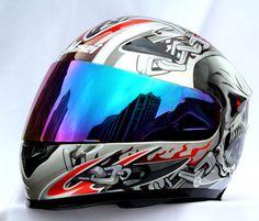 MASEI 816 DOT MOTORCYCLE HELMET SILVER SKULL M L XL