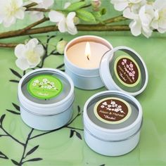 Find Cherry Blossom Personalized Round Travel Candle Tins with quantity discounts here, along with other wedding favors and shower gifts. Candle Wedding Favors, Wedding Shower Gifts, Candle Favors, Unique Wedding Favors, Baby Shower Gifts, Wedding Ideas, Wedding Inspiration, Wedding Fun, Favours