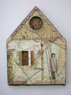 photopolymer printmaking house, mixed media printmaking, found photograph Mixed Media Collage, Collage Art, Paper Collages, Assemblage Art, Mix Media, Art Plastique, Little Houses, Fabric Art, Kitsch