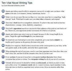Ten Vital Novel Writing Tips. I think #3, 9, and 10 are subjective and up to the writer. The others are pretty good advice.
