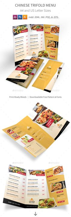 *Save with Bundle! Chinese Menu Print Bundle is also available.Chinese Restaurant Trifold Menu Clean and professional trifold menu