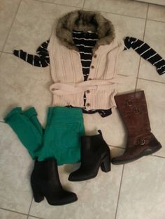 Green jeans outfit : striped shirt, fur vest / knit vest, green jeans,  black booties/ brown boots