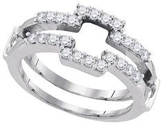White Gold Women's Round Diamond Square Wrap Ring Guard Enhancer Wedding Band Cttw Gemstone Carats total weightAll diamonds are natural and conflict-free in originRound ct. clarity H-I color Prong White grams (approximately)Ring Engagement Ring Enhancers, Shop Engagement Rings, Diamond Bands, Diamond Wedding Bands, Wedding Rings, Wedding Jewelry, Enhancer Wedding Band, Solitaire Enhancer, Ring Guard