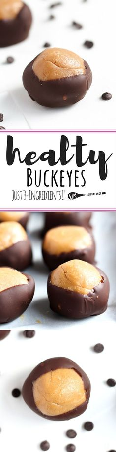 Healthy Buckeyes recipe with 3-Ingredients, gluten free, made low sugar and under 100 calories! Indulging in this decadent dessert just got really easy dairy-free