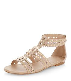 Stone Studded Trim Laser Cut Out Sandals | New Look