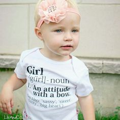 How cute is this sweetie in our Girl Definition shirt?! Snag that fab headband at LivAndCompany.etsy.com #LivAndCo #Etsy #Handmade #LivAndCompany