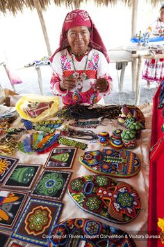 North America: The Huichol Indians of Riviera Nayarit are an indigenous ethnic group living high in the Sierra Madre Mountains who escaped the conquest of the Spaniards and being changed by Mexican culture. Mexico People, Guatemala, Mexican Heritage, Mexico Culture, Maya, Mexican Designs, Mexican Folk Art, Expo, People Of The World
