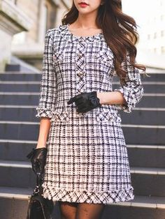 Black-white 3/4 Sleeve Checkered/Plaid Woven Midi Dress