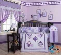 Boutique Brand New GEENNY Lavender Butterfly 13PCS Baby Nursery CRIB BEDDING SET baby crib sets