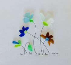 Flowers Sea glass Art pictures #seaglassjewelry