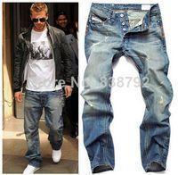 2014 New Arrival Men's Designer Jeans Famous Brand Slim Straight 100% Cotton Denim Pants Fashion Ripped Jeans for Men $33.33 #mensjeansbrands