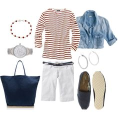 Red stripes & denim=perfect match-----Stripes and Chambray, created by bluehydrangea