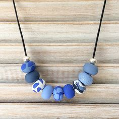 Blues handmade necklace polymer clay necklace by Rubybluejewels