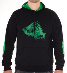 Hoodie : Reference Black - Green  Hoodie Reference Black – Green Fabric high quality Inside 100% cotton Outside 50% Cotton 50% Polyester 320 grs Permanent colour Screen - print: Pvc free plastisol #Hoodie, #Actionsportsclothingbrand, #Piranha, #Clothingbrand, #Oxygendrop