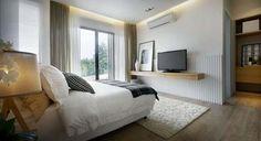 Ideas para colocar una TV de plasma en dormitorios pequeños.