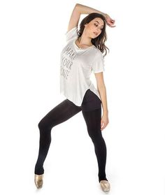 Effectively express yourself while you warm up in this uber-soft side slit tee. The fabric is so luscious you'll never want to take the shirt off...not even for