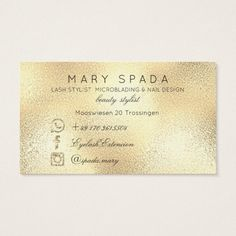 Makeup Eyebrows Lashes Glitter Diamond Gold Custom Business Card