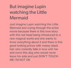 Lupin D:<<< Parallels, ariel is lily, price eric is james and the dog is sirius