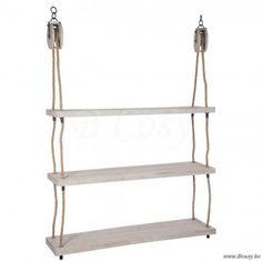 "J-Line Ophangbaar houten rek met katrollen en 3 niveaus in hout 175 <span style=""font-size: 0.01pt;"">Jline-by-Jolipa-61928-legplank-plank-planche-planches-planken-legplanken-wohnzubehoer-legpla</span>"
