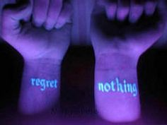 My first tat, it might be this. Black light tattoo. REGRET NOTHING