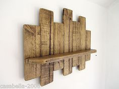 Handmade from recycled pallet wood, finished in antique brown beeswax. Pallet Wall Shelves, Wall Hanging Shelves, Wood Floating Shelves, Wood Shelves, Pallet Display, Wall Racks, Display Shelves, Reclaimed Wood Projects, Diy Pallet Projects
