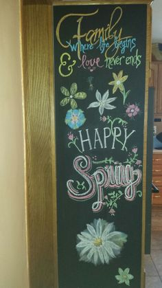 Coloring on the Chalkboard is way more fun than dishes!