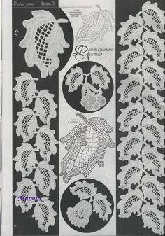 Crochet leaf motifs with filet centers