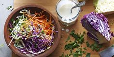 Whether you're a fan of vinegary coleslaw or creamy coleslaw, this kefir based dressing is sure to please. Use the shredding blade of the food processor for the cabbage and carrots if you'd rather spend your time washing the machine than slicing with a chef knife.Recipe by Chef Sophia Doria. Brought to you by PC.
