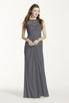 Simply elegant in design, your bridal party will look exceptional in this long mesh dress! Sleeveless bodice features ultra-feminine corded lace illusion sweetheart neckline and illusion v back. Long mesh skirt with ruched waist and front leg slit. Fully lined. Back zip. Imported polyester. Dry clean only. To protect your dress, try our Non Woven Garment Bag.