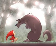 Little Red Riding Hood - Le petit Chaperon Rouge by Poubelle-de-Dav Little Red Ridding Hood, Red Riding Hood, Op Art, Illustrations, Illustration Art, Art Du Monde, Red Hood, Oeuvre D'art, Cute Art