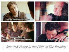Psych..I loved watching their relationship grow Shawn and Henry in the pilot vs. the breakup.