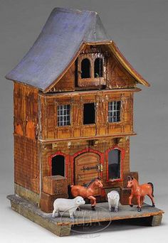 Dolls house; German, Warehouse, Lithographed Paper, 3 Floors, Glass Windows, Elevator, Animals & Crates, 21 inch. Probably Gottschalk.