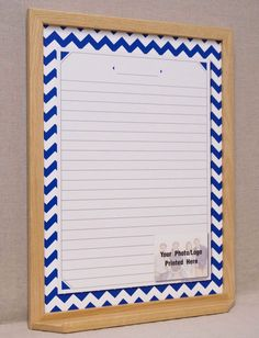 navywhite chevron message center dry erase board large framed custom whiteboard wall