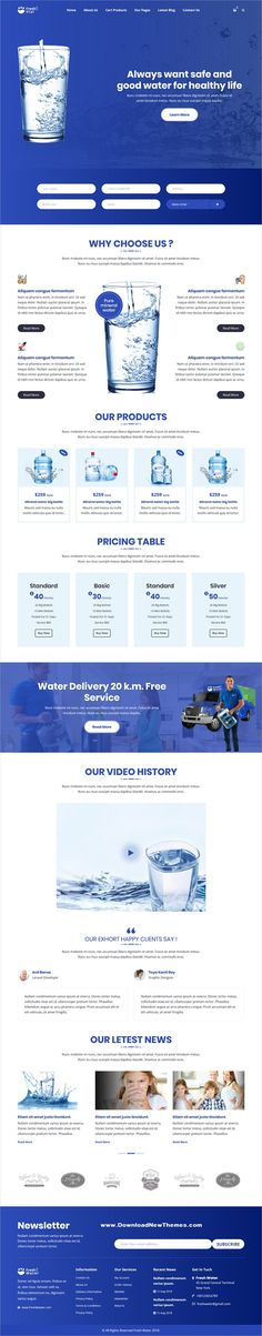 Buy Fresh Vial - Drinking Mineral Water Delivery HTML Template by on ThemeForest. Fresh Vial – it's a modern and amazing design created especially for Water delivery company, delivery service, bottl. Responsive Slider, Responsive Template, Html Templates, Web Design, Modern Design, Water Delivery, Team Page, Pricing Table, Design Web
