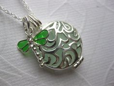 SS Dragon fly lovers Seaglass Locket SS necklace by SAMISEAGLASS, $49.00