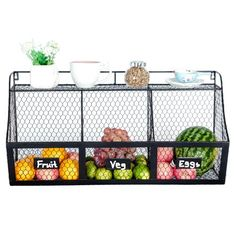 Rustic Industrial Farmhouse Wall Mount Metal Wire Kitchen Vegetable Basket Bins With