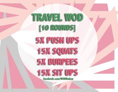 A WOD for those of us traveling/ not at home or in our box. zero excuses! Go! http://wodnationgear.com/