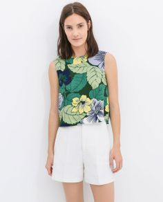 zara high-waist structured white shorts