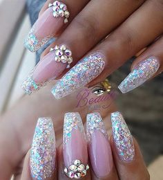 21 Ballerina Nails Ideas That Speak For Themselves Sparkling Ballerina Nail Designs with Stones… Halloween Nail Designs, Cute Nail Designs, Acrylic Nail Designs, Halloween Nails, Acrylic Nails, Fancy Nails, Bling Nails, Cute Nails, Pretty Nails