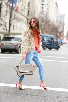 Jeans: Wildfox | Shoes: Christian Louboutin | Sweater: Alexander Wang, similar | Fluffy Jacket: Zara | Bag: Celine
