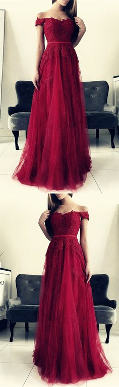 Burgundy Lace Appliques Bridesmaid Dresses Off The Shoulder Tulle Floor Length Formal Gowns For Wedding Party