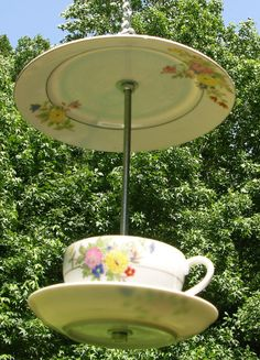 Trico Japan Hanging China Tea Cup Bird Feeder Flower Motif Covered To Protect Seed on Etsy, $18.00