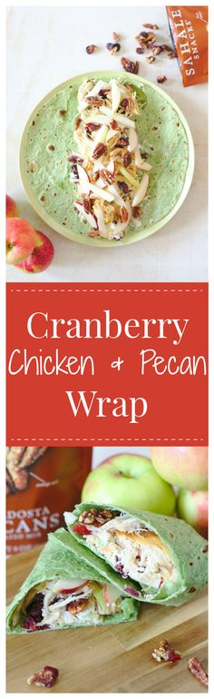 Cranberry Chicken and Pecan Wrap – A delicious lunch ready in just minutes! Made with shredded chicken, apple, pecans, and a creamy cranberry spread! #sandwich #wrap #chicken #lunch #SahaleSnacksatTarget @target @sahalesnacks [ad]