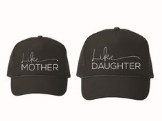 A mother and daughter relationship is so special. Celebrate it with us, with this new hat set!  Here are the deets:  Colors: All Black Trucker Hat with White Design Adult Snapback Size: One Size Fits All Kids Snapback Size: One Size Fits Most 3-10 year olds Style: Trucker Hat (Snapback) Features: Adjustable Double Plastic Tab Back Other: Theyre just super cute!  Shipping: In order to keep shipping costs as low as possible, we ship our hats in bags. Unfortunately, we cannot control USPS care…